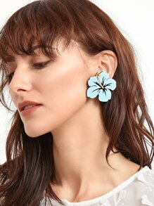 Light Blue Acrylic Floral Statement Earrings