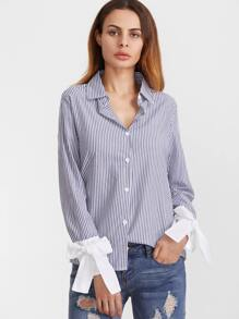 Contrast Bow Tie Cuff High Low Striped Shirt