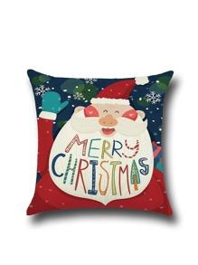 Santa Claus Linen Cartoon Square Pillowcase