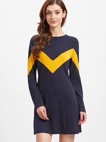 Navy Contrast Chevron Pattern A Line Dress