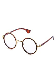 Leopard Frame Clear Lens Retro Style Round Sunglasses