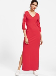 Red V Neck Striped Sleeve Long Sweatshirt Dress