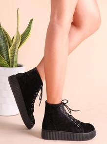 Black Rubber Sole Lace Up Velvet Boots