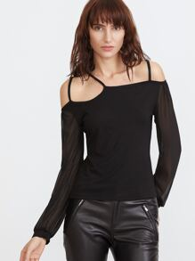 Black Cold Shoulder Contrast Mesh Sleeve T-shirt
