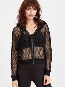 Black Zip Up Hooded Fishnet Jacket