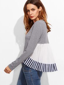 Heather Grey Striped Ruffle Back High Low T-shirt