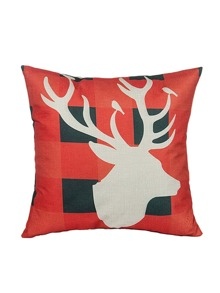Red Plaid Deer Pattern Pillowcase Cover