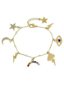 Gold Color Rhinestone  Charms Bracelets