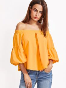 Yellow Pleated Front And Back Lantern Sleeve Off The Shoulder Top