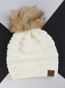 Faux Fur Pom Knit Beanie IVORY