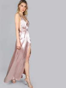 Pink Plunge Neck Crisscross Back High Slit Wrap Cami Dress