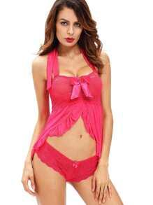 Pink Bow Detail Flounce Trim Lace Slip Dress