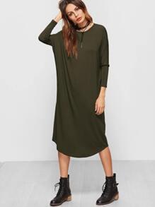 Olive Green Dolman Sleeve Curved Hem Tee Dress