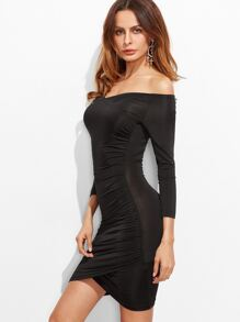 Black Off The Shoulder Ruched Overlap Bodycon Dress