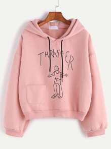 Pink Drawing Print Drop Shoulder Hooded Sweatshirt