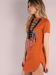 Deep V Leather Lace Up Queen Rad Tunic Top ORANGE