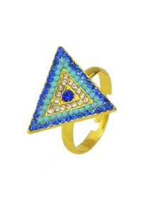 Gold Color Rhinestone Adjustable Triangle Rings