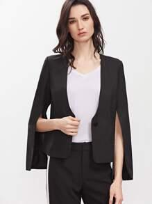 Black Split Sleeve Collarless One Button Blazer