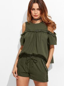 Olive Green Frayed Lace Trim Cold Shoulder Babydoll Top