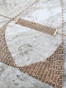 Metallic Choker Triangle Bra GOLD