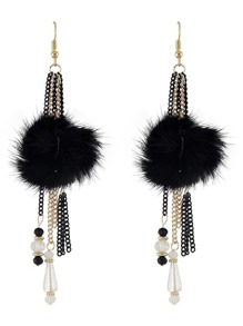 Black ColorBeads Chain Long Hanging Earrings