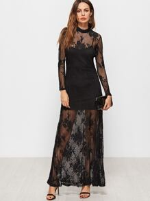 Black Mock Neck Flower Embroidered Lace Dress With Cami