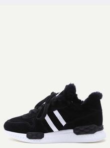 Black Striped Detail Faux Fur Trim Shoes