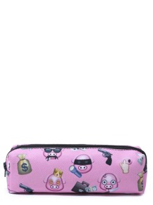 Pink Cartoon Print Oxford Makeup Case