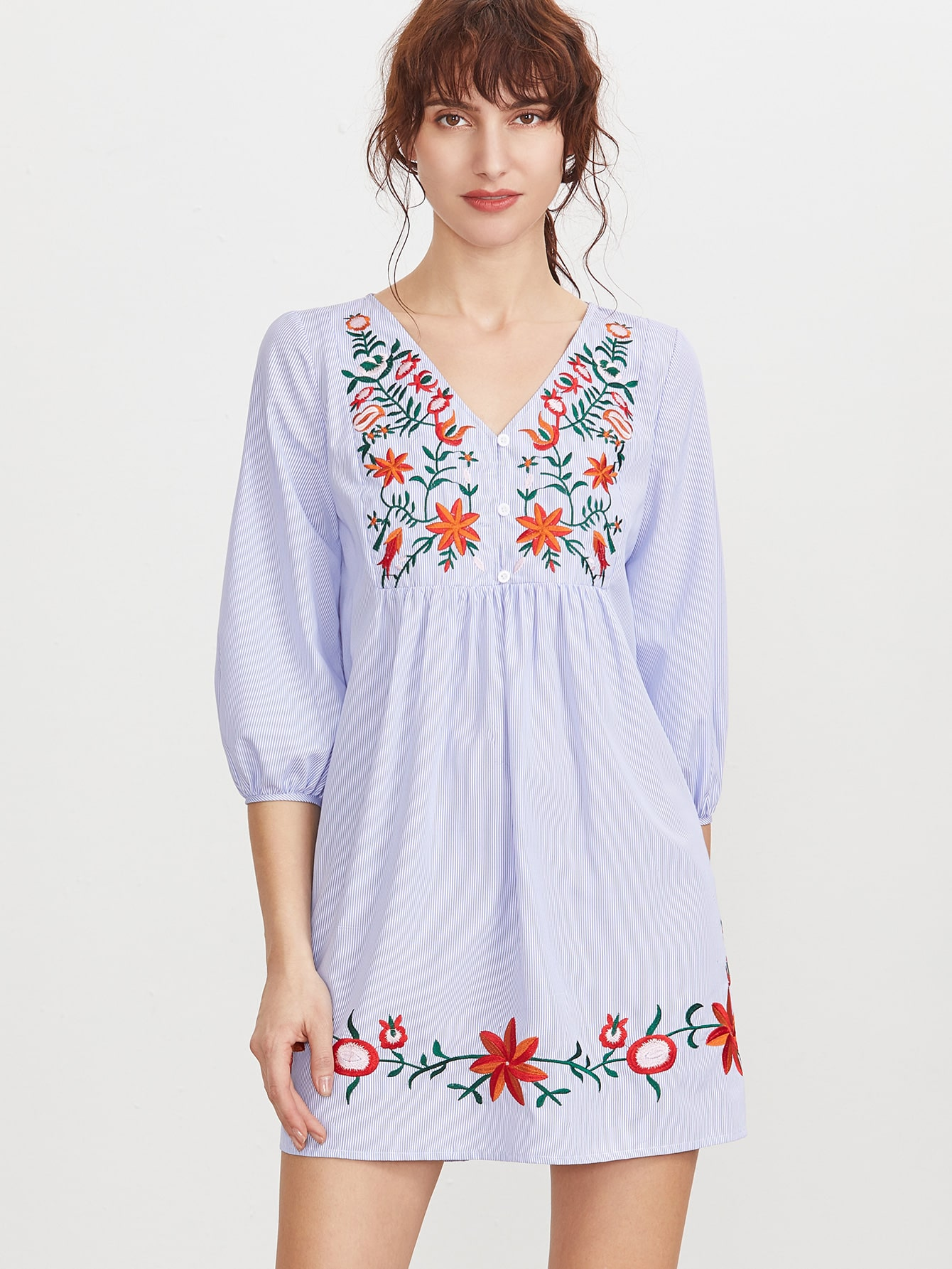 Blue Striped Button Front Lantern Sleeve Embroidered Dress pictures