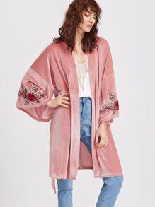 Pink Embroidered Flower Applique Belted Velvet Kimono