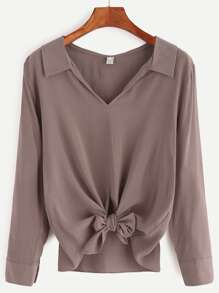 Khaki V Neck Knotted Hem Blouse