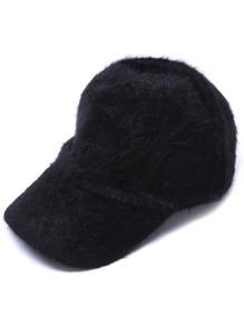Black Rabbit Hair Fuzzy Warm Baseball Cap
