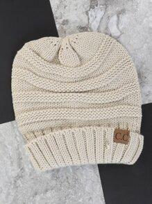 Fold Over Knit Beanie CREAM