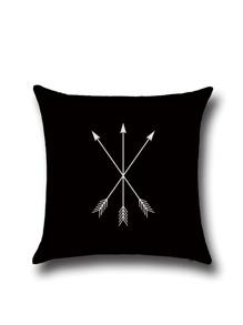 Black Three-arrow Pattern Linen Cushion Cover