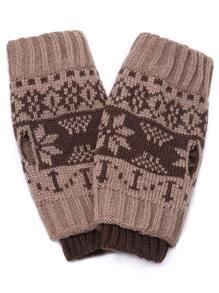 Khaki Snowflake Print Ribbed Handwarmers