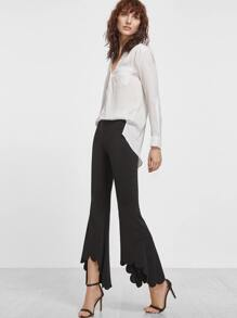 Black Scallop Hem Crop Flared Pants