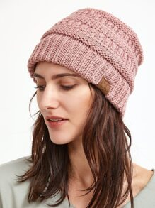 Pink Crochet Knitted Beanie Hat