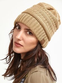 Khaki Crochet Knitted Beanie Hat