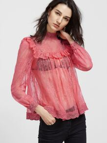 Pink Crochet Trim Ruffle Sheer Floral Lace Top