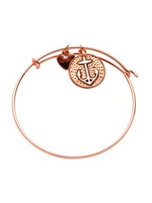 Rose Gold Plated Heart And Anchor Charm Bracelet