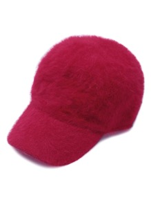 Red Rabbit Hair Fuzzy Warm Baseball Cap