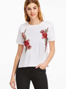 White Flower Embroidered Side Slit T-shirt