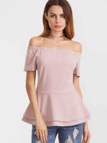 Off The Shoulder Layered Peplum Blouse