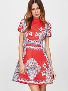 Red Vintage Print Jacquard Structured Skater Dress