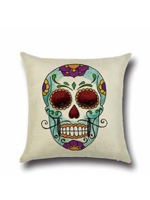 Skull Graffiti Beige Square Cushion Cover