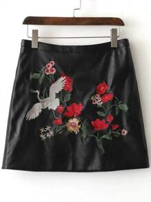 Black Floral Embroidery PU Skirt
