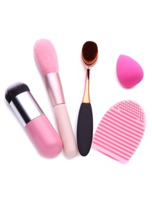 Pink Makeup Brushes Powder Puff Cleanning Tool Cosmetic Set