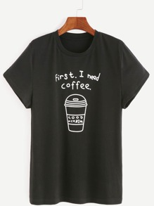 Black Coffee Print Short Sleeve T-shirt