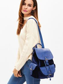 Royal Blue PU and Velvet Flap Pocket Drawstring Backpack