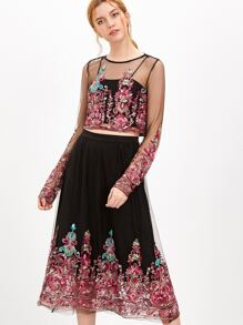 Black Buttoned Keyhole Back Embroidered Mesh Top